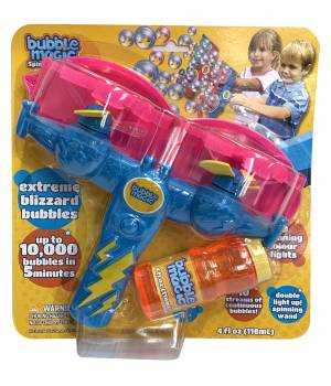 Bubble Magic Spinning Lights with Wand - Blue