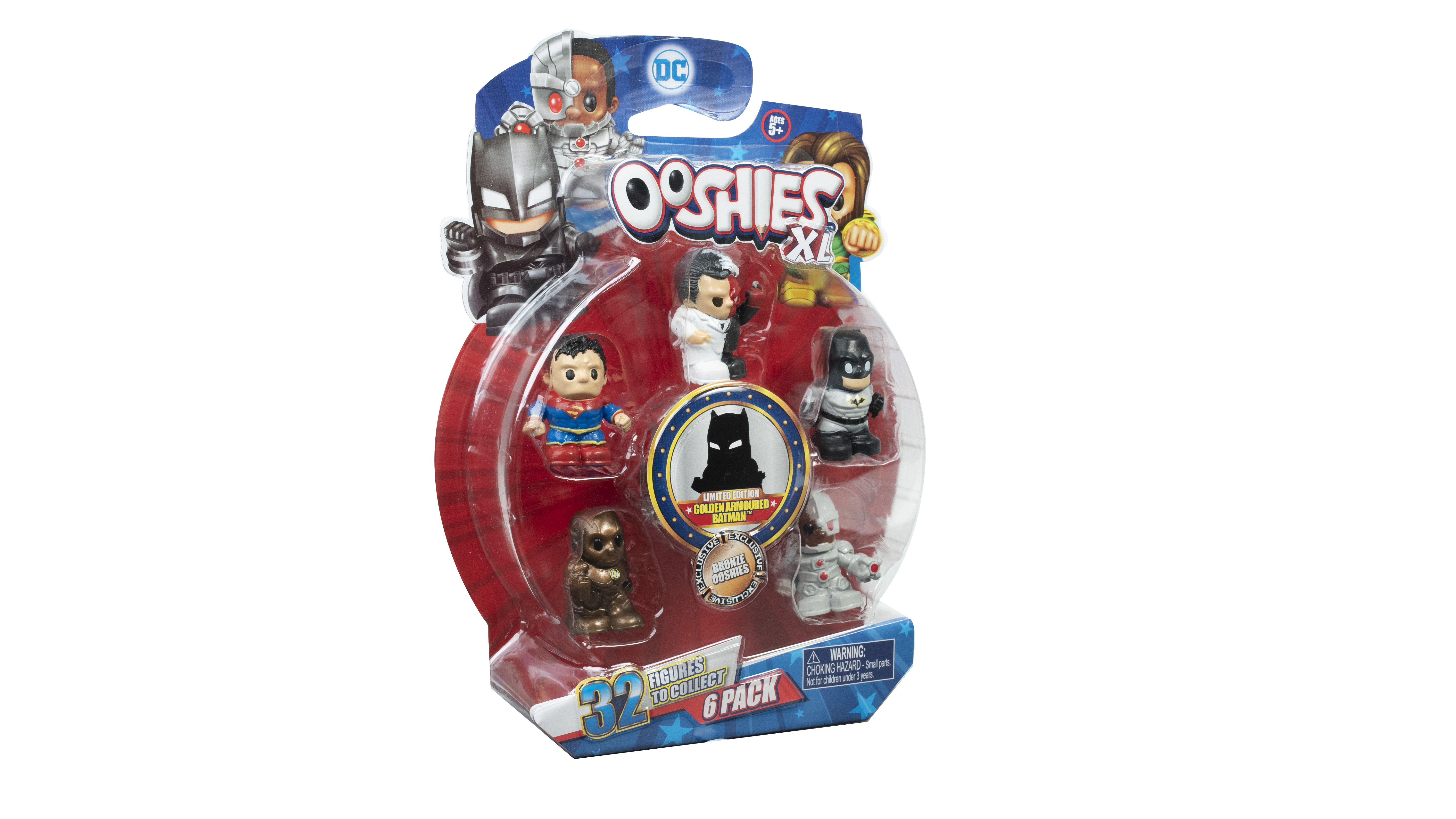 """DC Ooshies XL - 6 Pack- Superboy, New Outfit Batman, Bronze The Flash, Cyborg, Two face & """"One Surprise"""" Ooshie"""